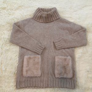 MAGASCHONI woolblend turtleneck with fuzzy pocket